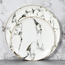 European 4pcs Marble Ceramic Round Gold Inlay Bone china Plate Steak Dessert Porcelain Plates Dishes Home Kitchen Dinnerware set