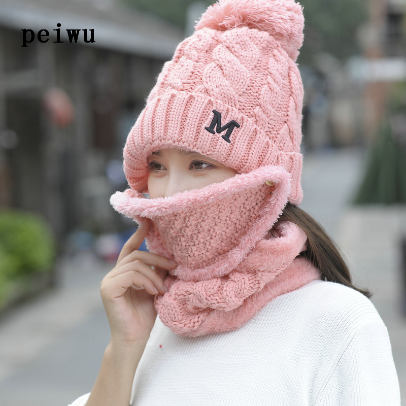 Winter Knitting Warm Face Cap Protection Ear Hat for Women Windproof Collar Three Sets male warm winter ear protection baseball cap corduroy keep warm man winter hat shade windproof older visor wholesale