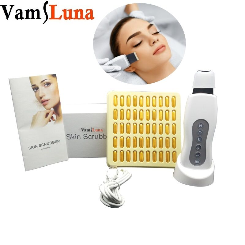 Rechargeable Ultrasonic Face Skin Scrubber Spatula Peeling Machine With 50 Face Whitening Cream For Blackhead Acne Removal
