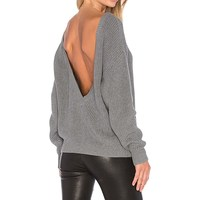 Fashion Women Sexy Sweater Casual Loose Knitted O Neck Full Sleeve Open Back Ladies Leisure Solid
