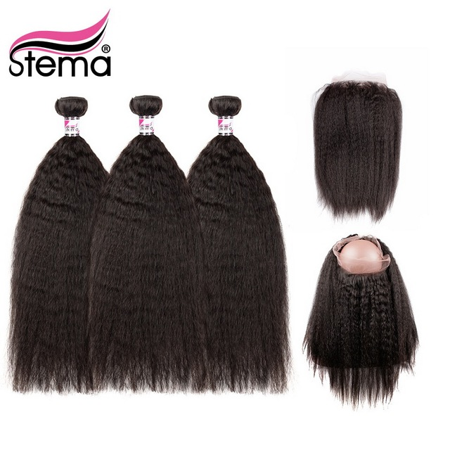 Stema Kinky Straight 3 Bundles With 360 Frontal Remy Human Hair Brazilian Bundles With 22.5x4 Lace Frontal Free Shipping