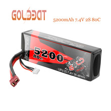 GOLDBAT RC lipo Батарея 7,4 V 5200 mAh 2 S RC Литий-Полимерный Аккумулятор 7,4 v Lipo 2 s 80C с разъем типа «deans» для автомобиля RC грузовик радиоуправляемая автомодель трагги вид от первого лица для БПЛА