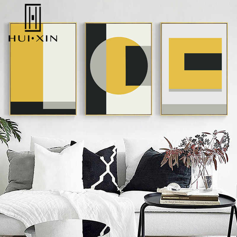 Nordic Modern Abstract Geometric Rectangle Yellow Black White Patterns Wall  Art Poster And Print Canvas Painting for Hall Decor