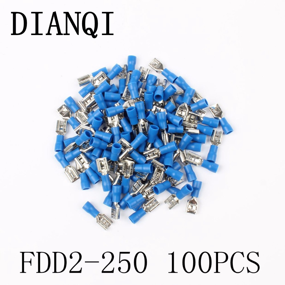 FDD2-250 Female Insulated Electrical Crimp Terminal for 1.5-2.5mm2 Connectors Cable Wire Connector 100PCS/Pack FDD2.5-250 FDD anime dragon ball z super saiyan son goku 22cm pvc action figure anime model toys