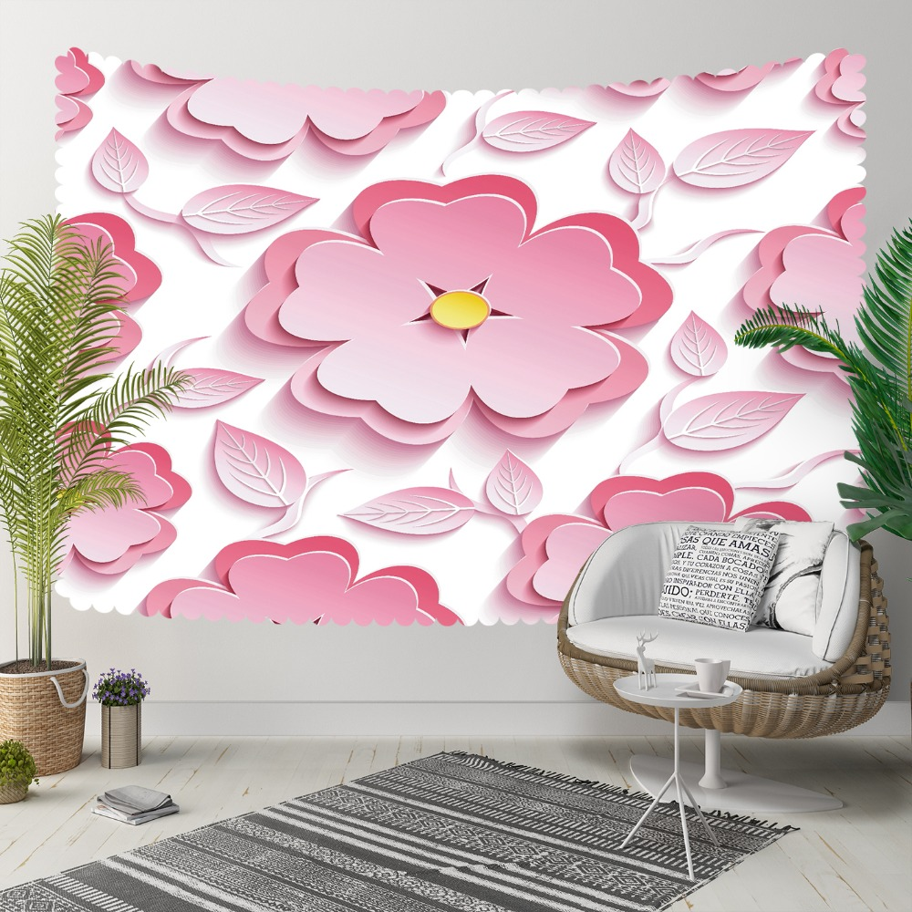 Else Pink White Yellow Big Flowers Leaves Floral 3D Print Decorative Hippi Bohemian Wall Hanging Landscape Tapestry Wall Art