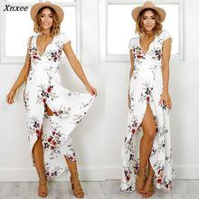 все цены на Sexy Women 2018 Summer Boho Maxi Long Beach Dress Deep V Neck Short Sleeve Split Floral Print Loose Female Casual Party Dresses