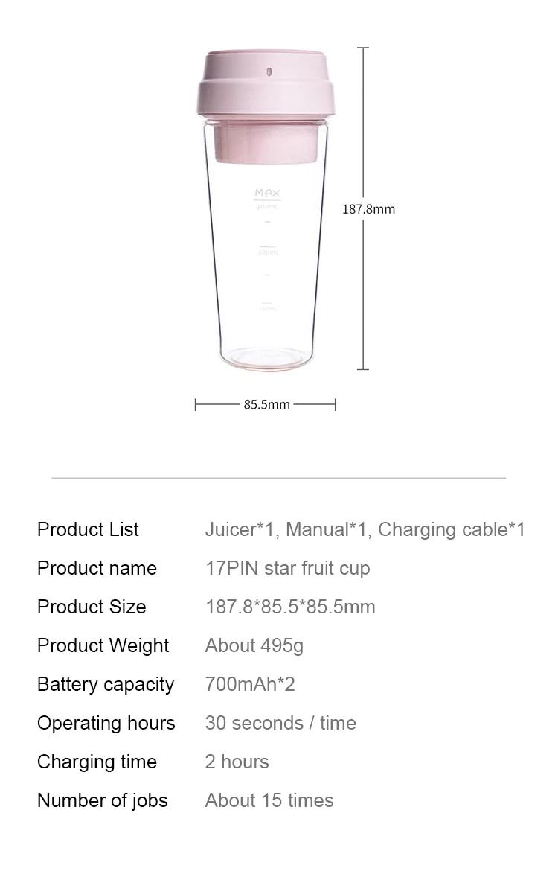 Mi 17Pin Star Fruit Juicer Bottle
