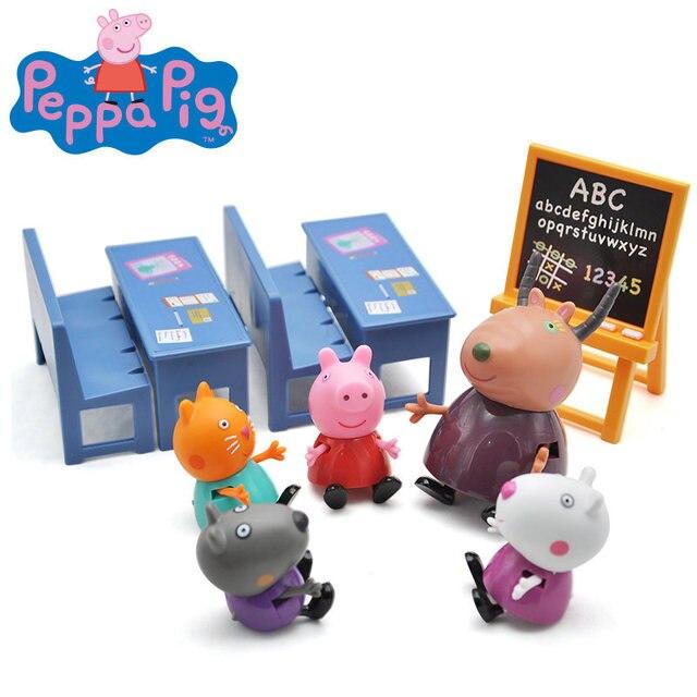 Original Peppa George Família do Porco Amigos Figuras de Ação Em Sala de Aula Cena Brinquedo Educacional Das Crianças do Presente de Aniversário de Natal