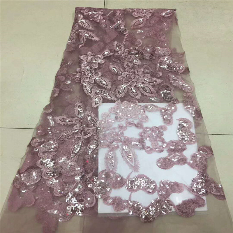 HFX Pink Nigeria Lace Latest High Quality African Tulle Lace Fabric 2018 Embroidery Sequins Dress Lace Fabric X852-5HFX Pink Nigeria Lace Latest High Quality African Tulle Lace Fabric 2018 Embroidery Sequins Dress Lace Fabric X852-5