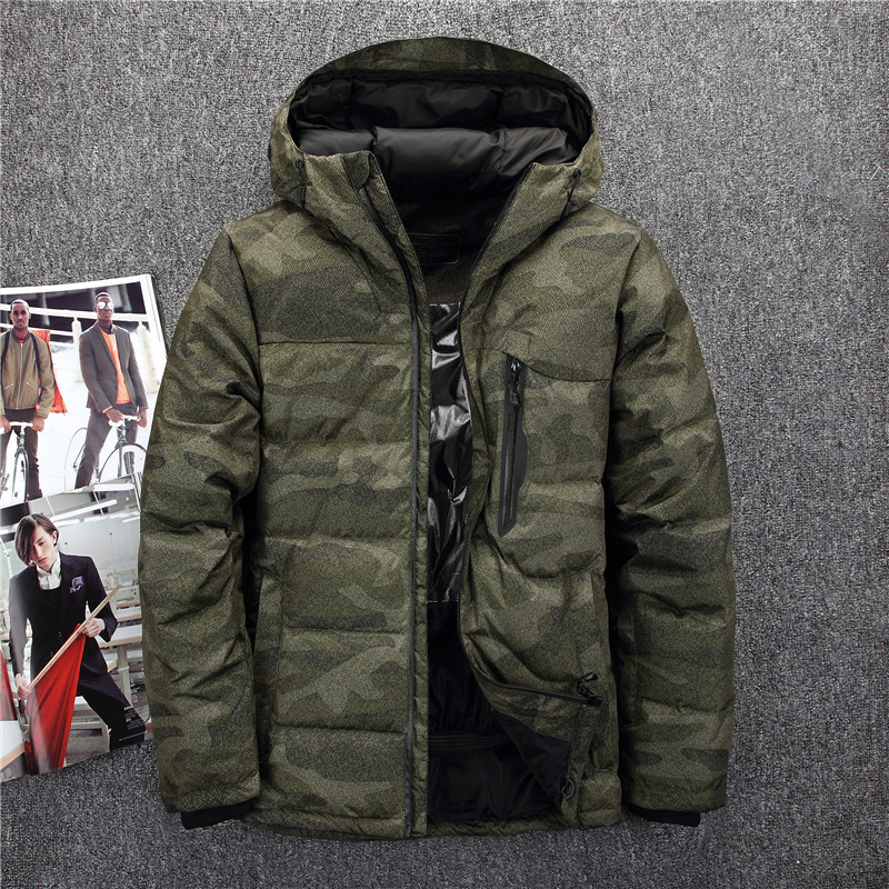 Winter Hooded Camouflage Duck   Down   Jackets Men Warm Thick Quality   Down     Coats   Male Casual Winter Overcoat   Down   Parkas Man JK-535