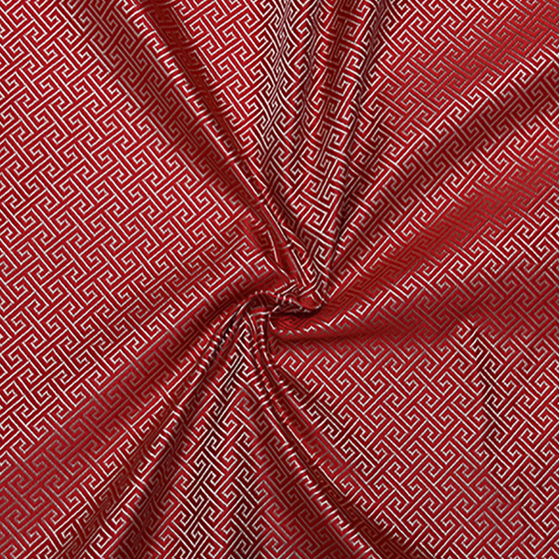 new arrival brocade red background The Great Wall grid fabric for patchwork tissue telas bed sheet children cloth 100x75cm