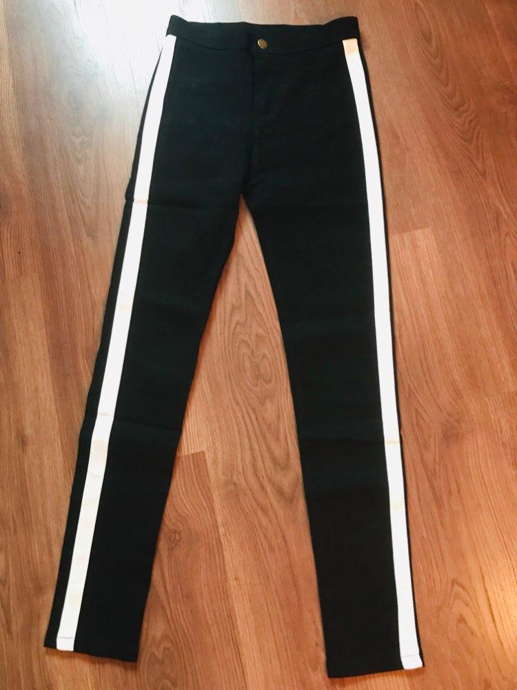 SweatyRocks Contrast Panel Side Skinny Ankle Jeans 2018 Summer Straight Leg Zipper Fly Pants Women Black Sporting Striped Pants