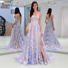 Dressv elegant sweetheart neck evening dress sleeveless split front lace wedding party formal gowns dresses