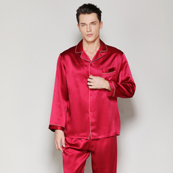 Men's 100% Silk Stain Solid Red Pajamas Sets Summer Spring 2019 Man Silk Sleepwear Homewear Two Piece Long Sleeve and Pants Sets