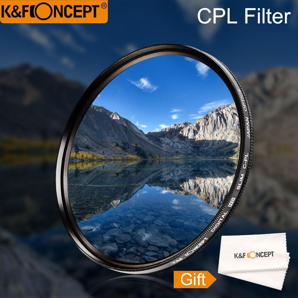K & F concepto 52 55 58 62 67 77 Slim CPL HD Polarizador Circular polarizante Filtro de lente paño de limpieza para Canon NIKON