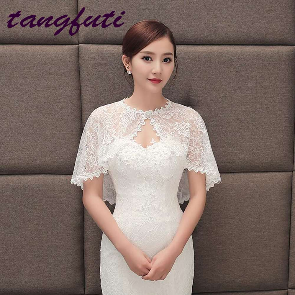 White Red Bridal Wraps Hot Sale Full Lace Bridal Cape Wedding Belero Free Shipping Wedding Accessories Cheap