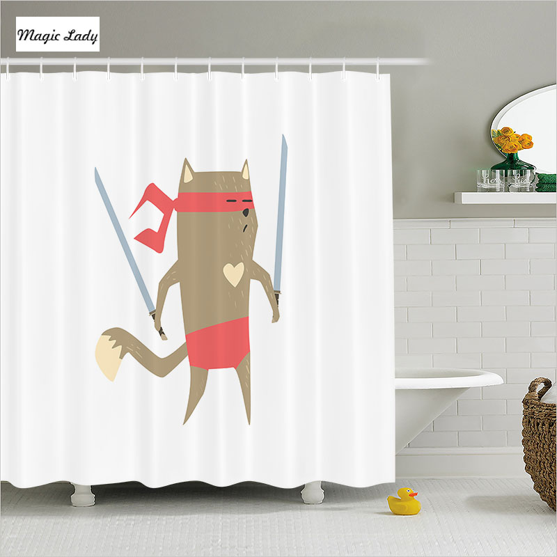 Shower Curtain Funny Bathroom Accessories Fighter Ninja