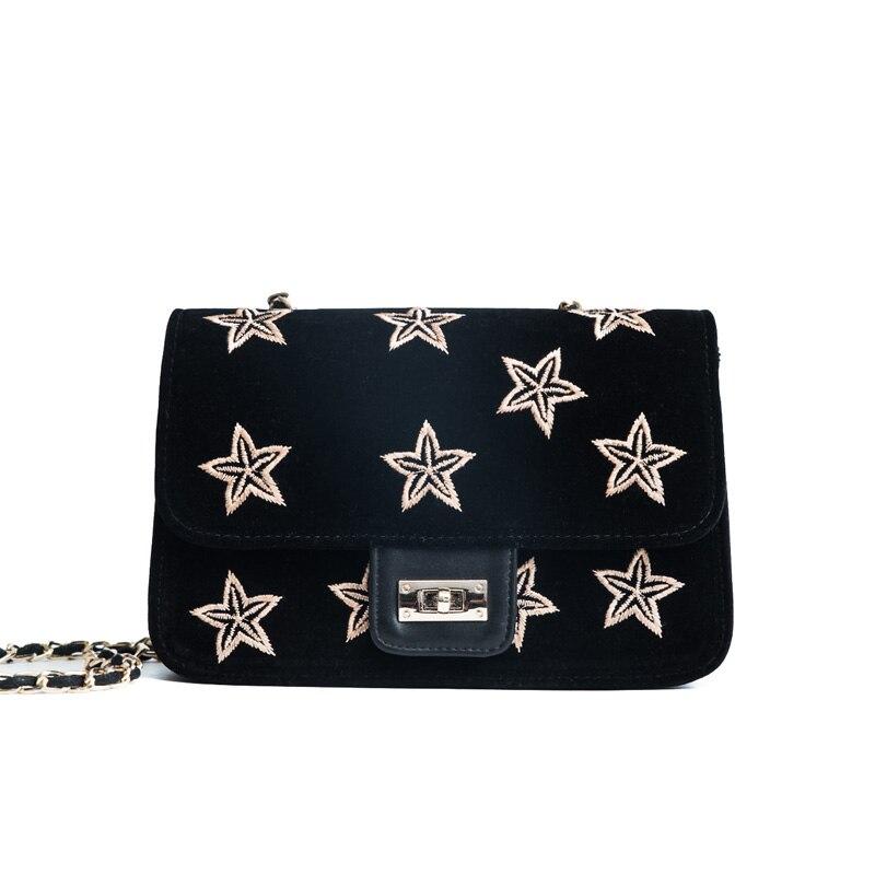 2018 new star embroidery retro chain small square bag velvet shoulder Messenger small bag handbags
