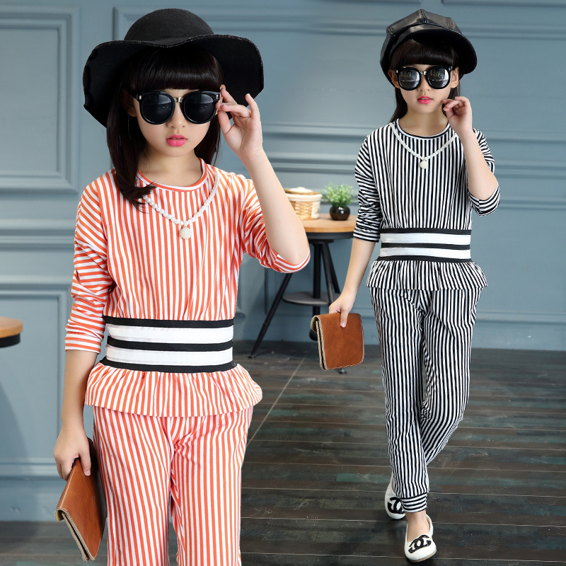 Girls Clothing Sets Long Sleeve Striped T-Shirts & Pants For Girls Cotton Children Tracksuits Spring Autumn Kids Clothes 3-14Y 2017 spring autumn children girls set new brand fashion solid shirts cotton pants 2 pieces suits casual kids clothing sets hot