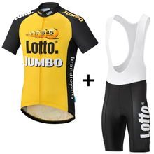 2017 Lotto yellow black PRO TEAM Cycling jersey And Bib shorts for Race jersey Top quality bib set for long time ride