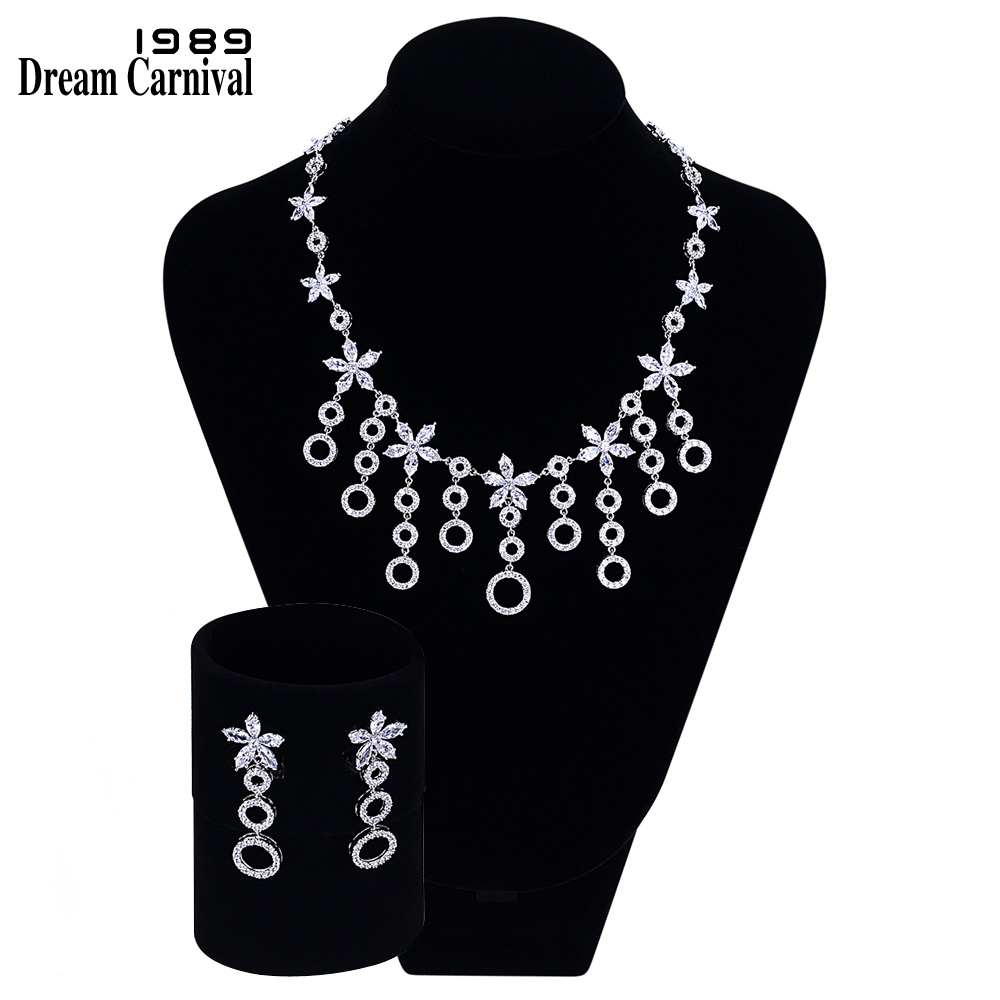 DreamCarnival1989 Necklace and earrings White Cubic Zirconia Rhodium color Bridal Jewelry Sets Parure Bijoux Femme WN490S2DreamCarnival1989 Necklace and earrings White Cubic Zirconia Rhodium color Bridal Jewelry Sets Parure Bijoux Femme WN490S2