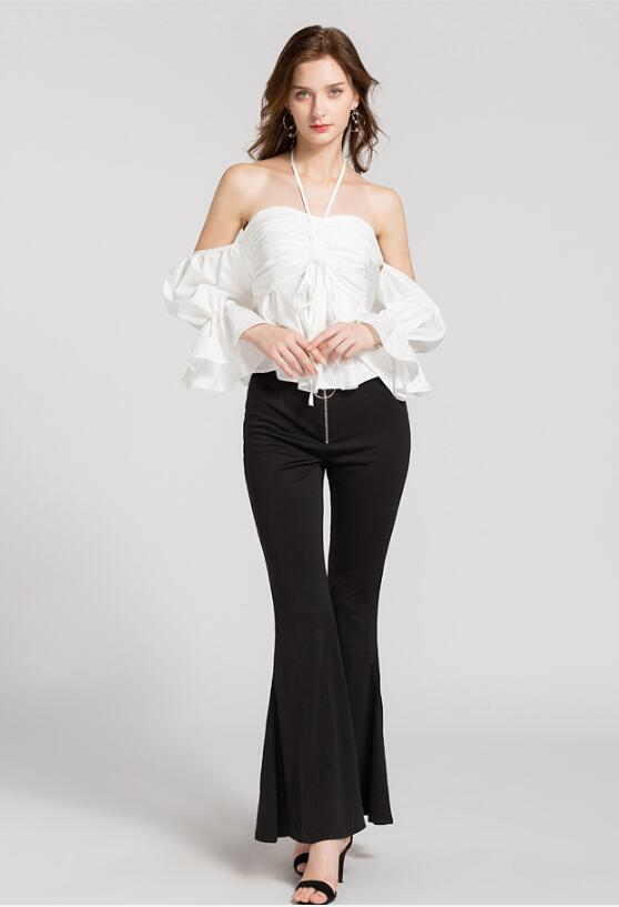 Club 2018 Sexy Elegant Neck Fashion 73 Solid Women Summer Slash Blouses Red Halter Sp Puff Ruched Shirts White white Clothing Red Sleeve Zgxdvq