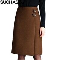 Splice Asymmetrical Skirt Women 2018 New Fall Winter Brown Black Woolen High Waist Irregular Skirt S 3XL Size Office Lady Skirt