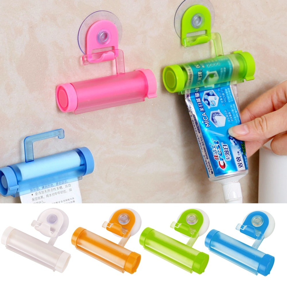 1Pc 5 Color Easy Squeezer Toothpaste Roller Tube Rack Dispenser Rolling Holder Easy Squeeze Paste Dispenser Roll Holder Hanging