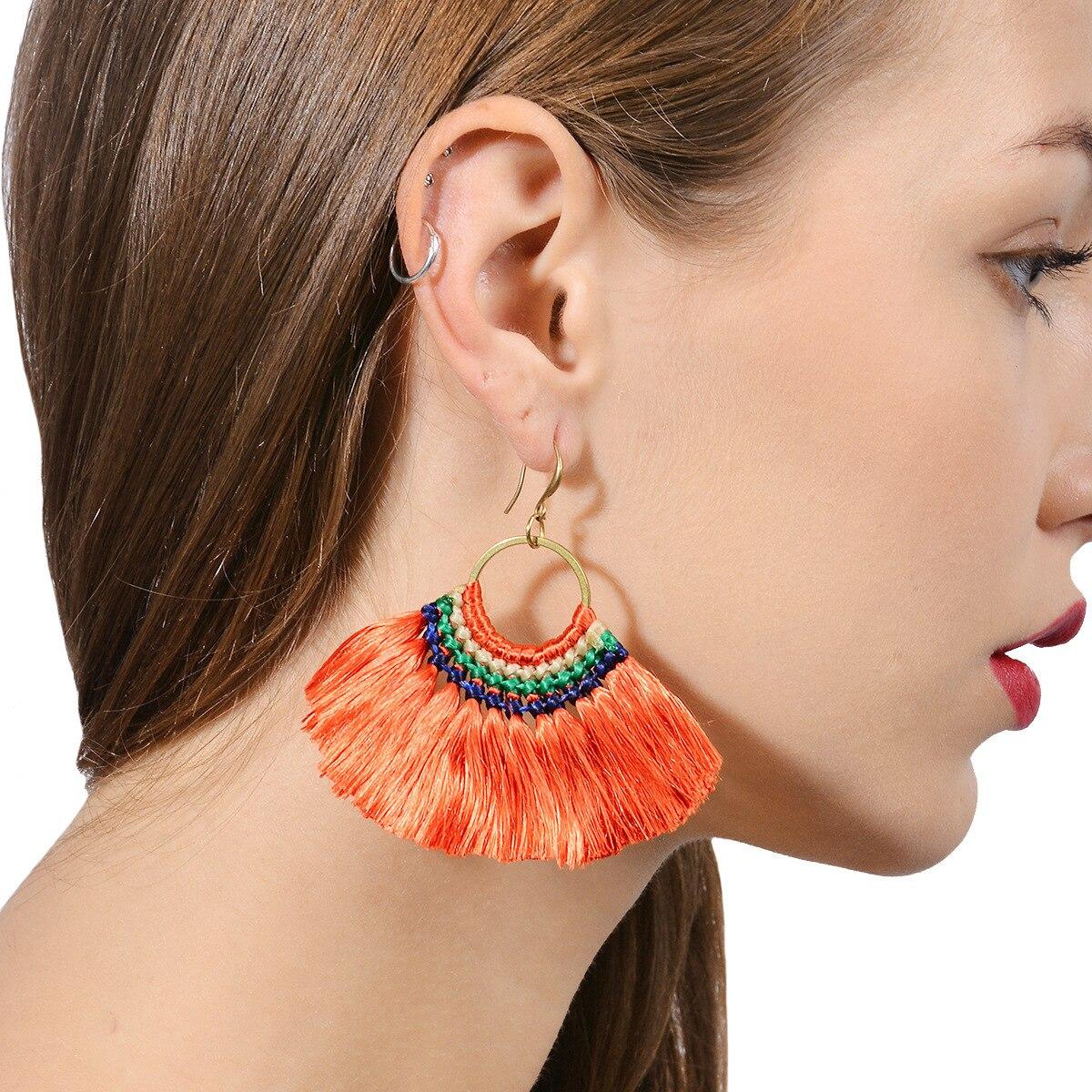 Earrings Fashion Bohemian Tassel Crystal Gifts Drop Dangle For Women Jewelry Boho Style