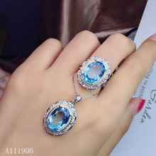 KJJEAXCMY Fine Jewelry 925 sterling silver inlaid natural topaz gemstone female ring necklace pendant set support review kjjeaxcmy fine jewelry 925 sterling silver inlaid natural topaz gemstone female pendant ring earrings set to send necklace suppo