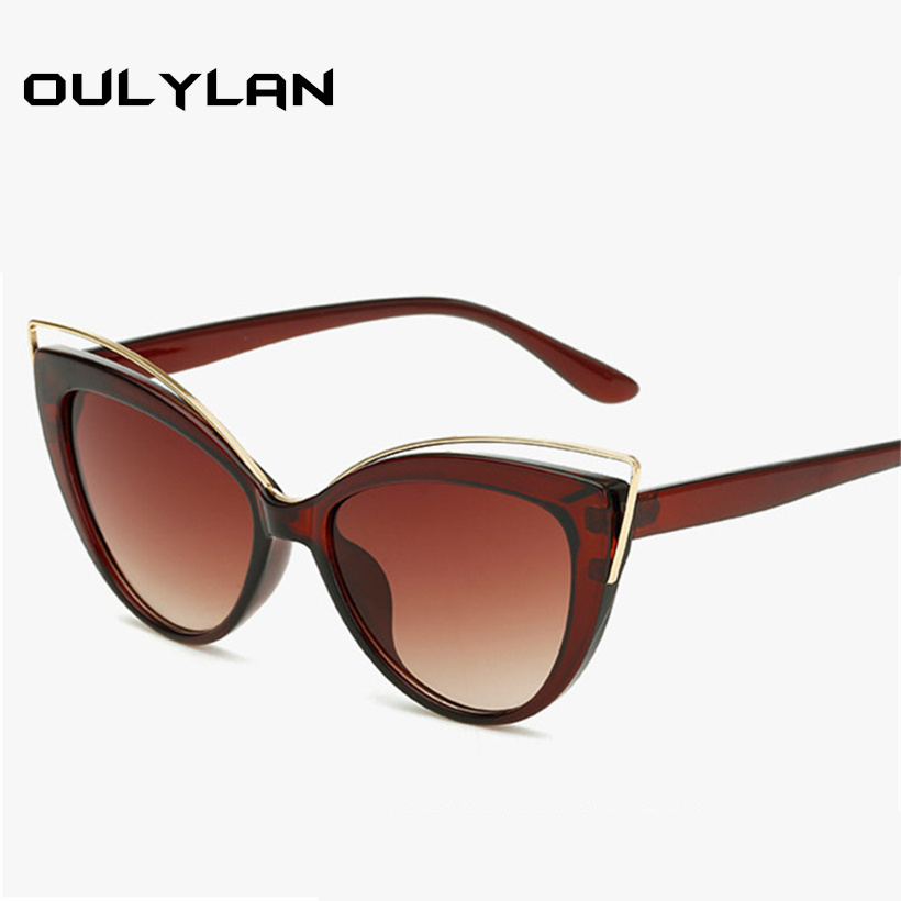 Oulylan Cat Eye Sunglasses Women Vintage Katie Holmes Sun Glasses For Women Elegant Curve Design Cateyes Eyeglasses Shades UV400