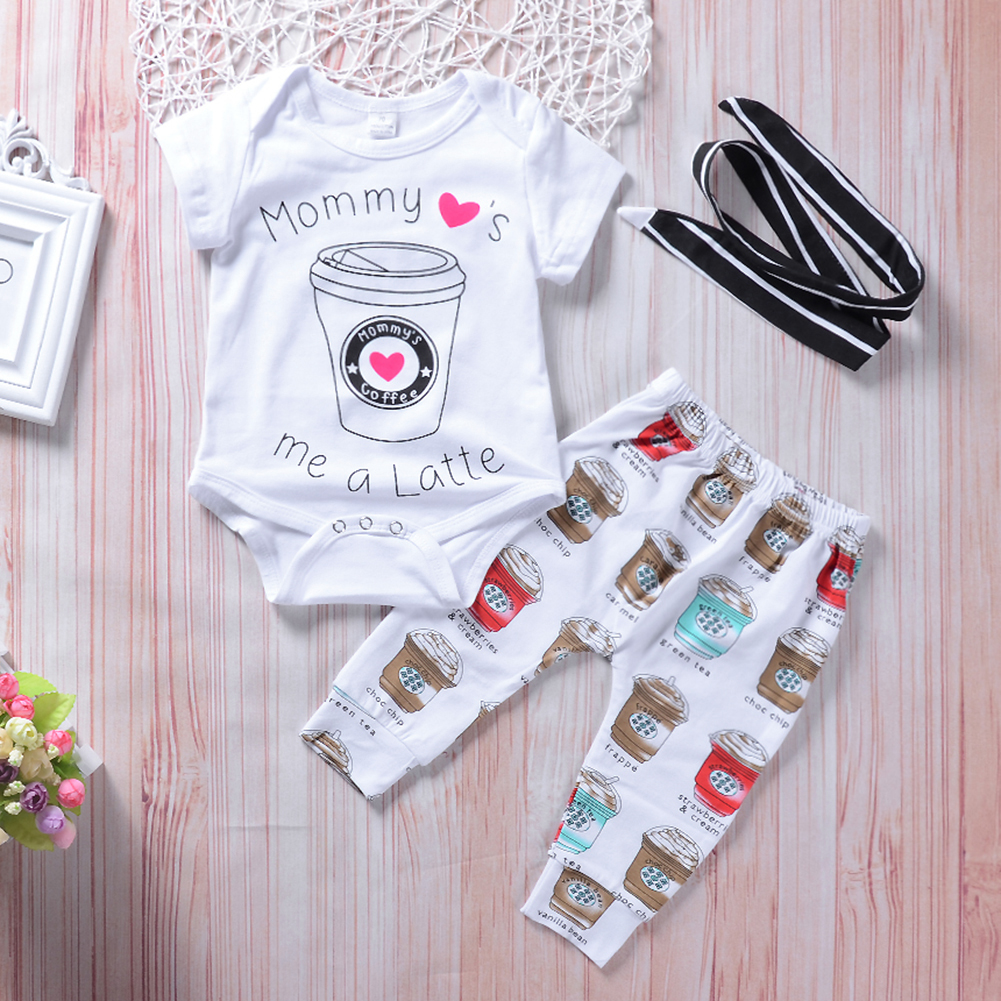 Baby Toddler Boys Girls Cute Mommys Me a Latte Romper Pants Headband Outfit