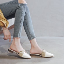 Women Pointed Toe Flat Slippers Slip On Mules Shoes Woman PU Leather Flats Loafers Summer Casual Sandals Flip Flops 11813AJS2819 crystal gladiator sandals summer flip flops casual shoes woman slip on flats rhinestone women shoes ch803