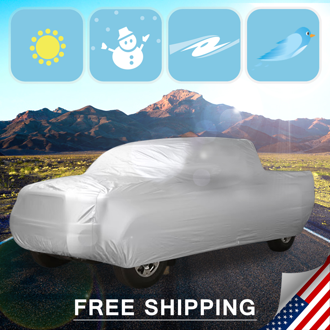 UXCELL Waterproof Stormproof Truck Pickup Outdoor Indoor Car Cover Protector 6.5M 6.8M