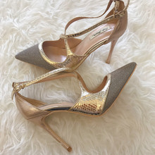 Free shipping fashion women Pumps Criss-Cross Gold Glitter snak Pointy toe high heels shoes size33-43 12cm 10cm 8cm party shoes стоимость