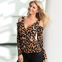 Autumn Leopard T shirt 2018 New Arrival Sexy Deep V Neck Long Sleeve Women T Shirt Slim Casual Fashion High Quality Tee Tops