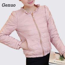 цена на 2018 Spring Autumn Basic Jacket Women Ruffled Collar Full Sleeve Slim Coats Female Solid Pockets Zippers Cotton Overcoat Femme