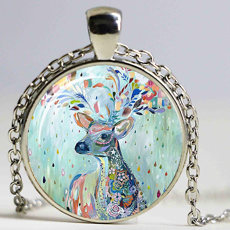 Vintage Keep Calm and Love Giraffe Photo Cabochon Glass Bronze Necklace
