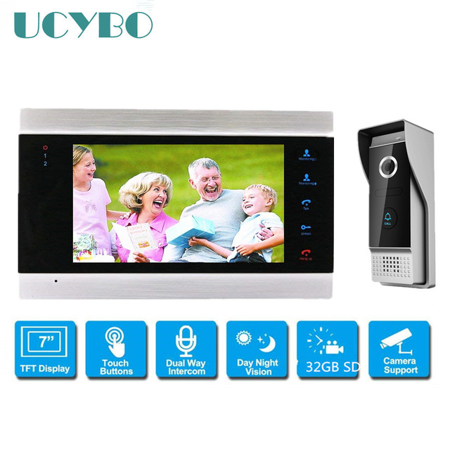 "7"" Color Video Intercom system video door phone doorbell  w/ 1200tvl hd door camera for home apartment w/ SD motion recording"