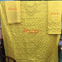 African Yellow Bazin Brocade Richer Getzner Stones Beads Guinea Basin Garment lace Materials 2+2+3Yards For Dress 3Pieces/Set