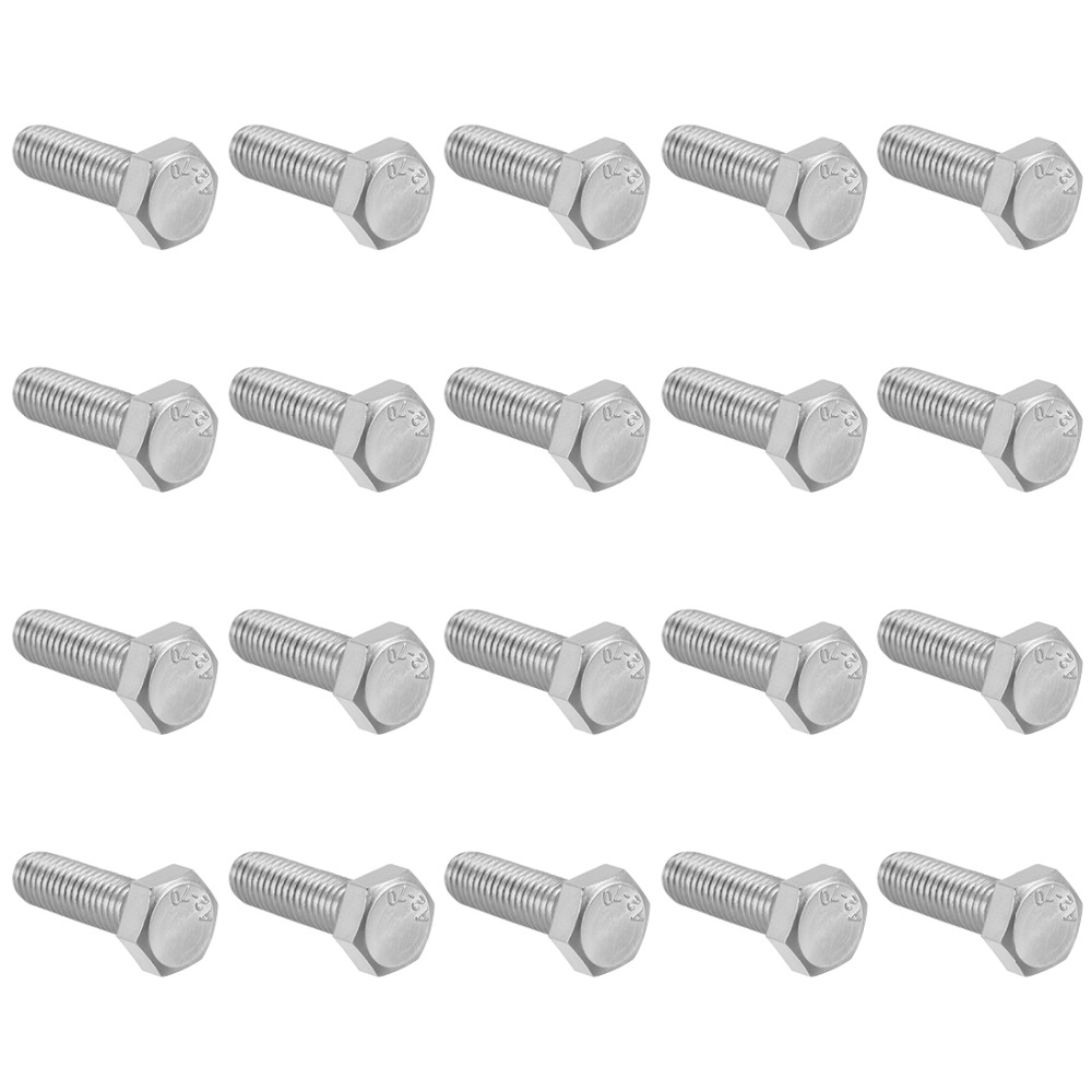 UXCELL 20Pcs Bolts M8 Thread 25mm 304 Stainless Steel Hex Head Screws Bolts Fastener For Ship Assembly Home Appliance in Bolts from Home Improvement