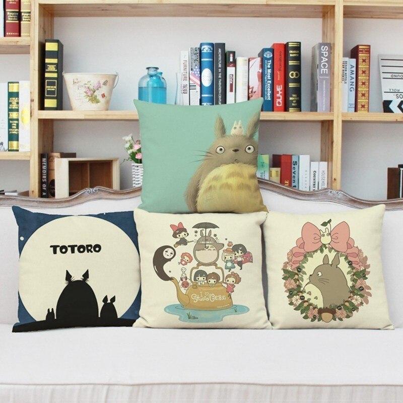 Cute Cartoon Totoro Couch Cushion Cover 45x45cm Decorative Pillows Cotton Linen Pillowcase Child Living Room Cushions Home Decor