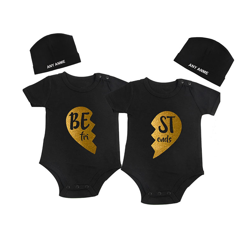 Culbutomind Golden Best Friends Twins Boys Girls Clothes Twins Matching Set Summer Cotton ShortSleeveBaby Outfit WithCustomBeani