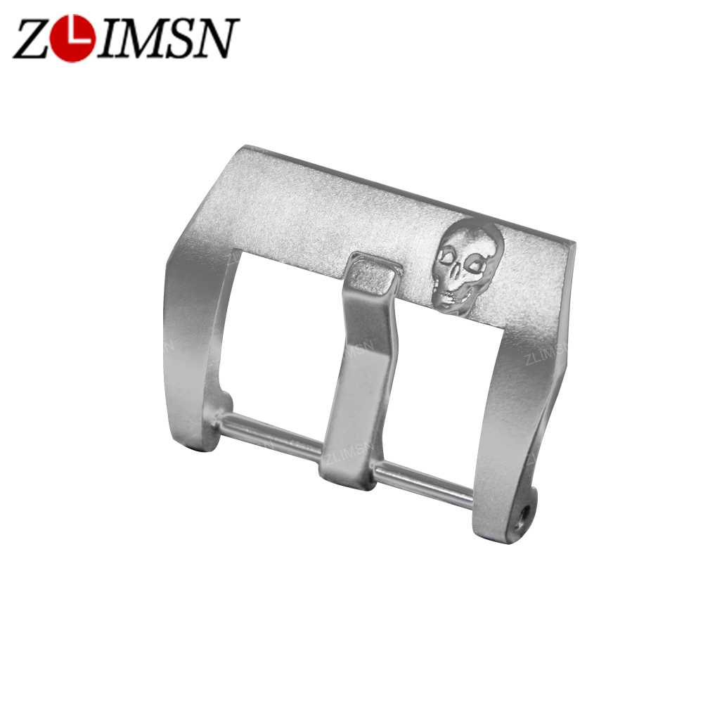 ZLIMSN Silver Skull Carved Watch Buckle 22mm 24mm 316L Stainless Steel Watchband Buckles Brushed Replacement Relojes Hombre 2017 zlimsn thick genuine leather watch band 20 22 24 26mm strap belt replacement stainless steel skull buckle relojes hombre