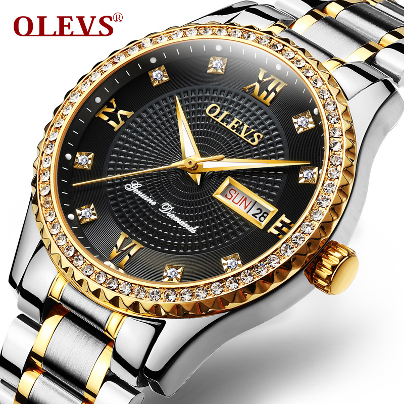 2017 Hot OLEVS Men Watch Double Display Clock Stainless Steel Quartz  Water Resistant Watches Sports Male Relogio Masculino 80cm chain rome retro double display hollow pocket watch fob watches men necklace quartz watch men s watches grandpa letter gift
