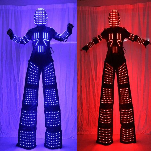 New design LED Robot Costume  LED Costume LED Clothing Light suits  LED Robot suits David Robot Stilts Clothes