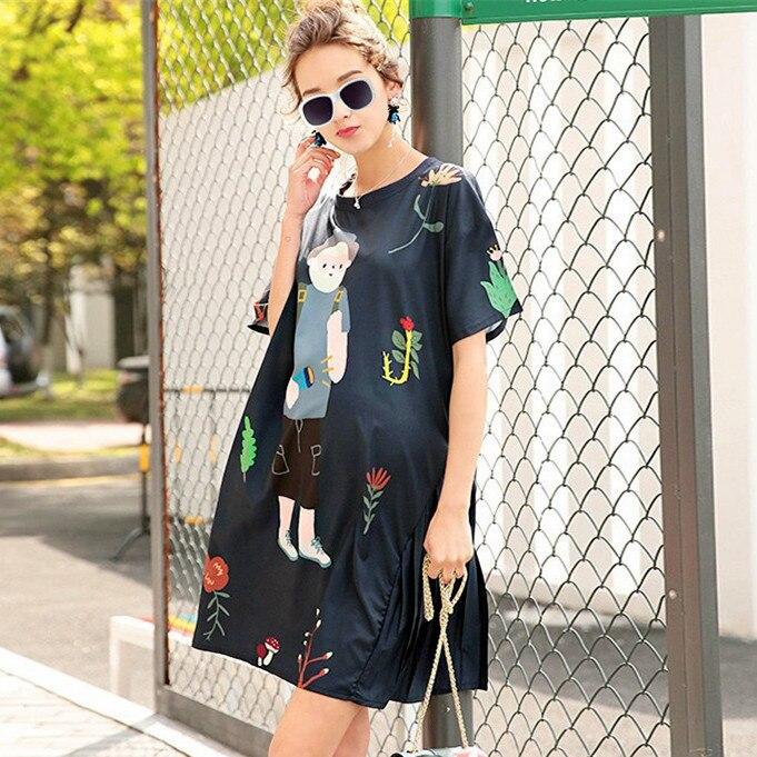Plus Size Summer Women Blouses Kawaii Casual Cartoon Pattern Blue Printing Long Fashion Casual Loose Lady Long Blouse NS457