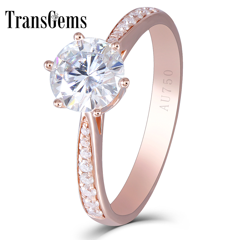 Transgems Center 1ct Rose Gold Enagement Ring for Women 14K Rose Gold 1 Carat 6.5MM F Color Moissanite Diamond with Accents helon solid 18k 750 rose gold 0 1ct f color lab grown moissanite diamond bracelet test positive for women trendy style jewelry