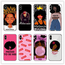 IMIDO Melanin Poppin Aba Soft Silicone Phone Case for iPhone X 6 8 plus 5 5s se 6s Fashion Black Girl Cover For Coque iPhone 7 цены онлайн