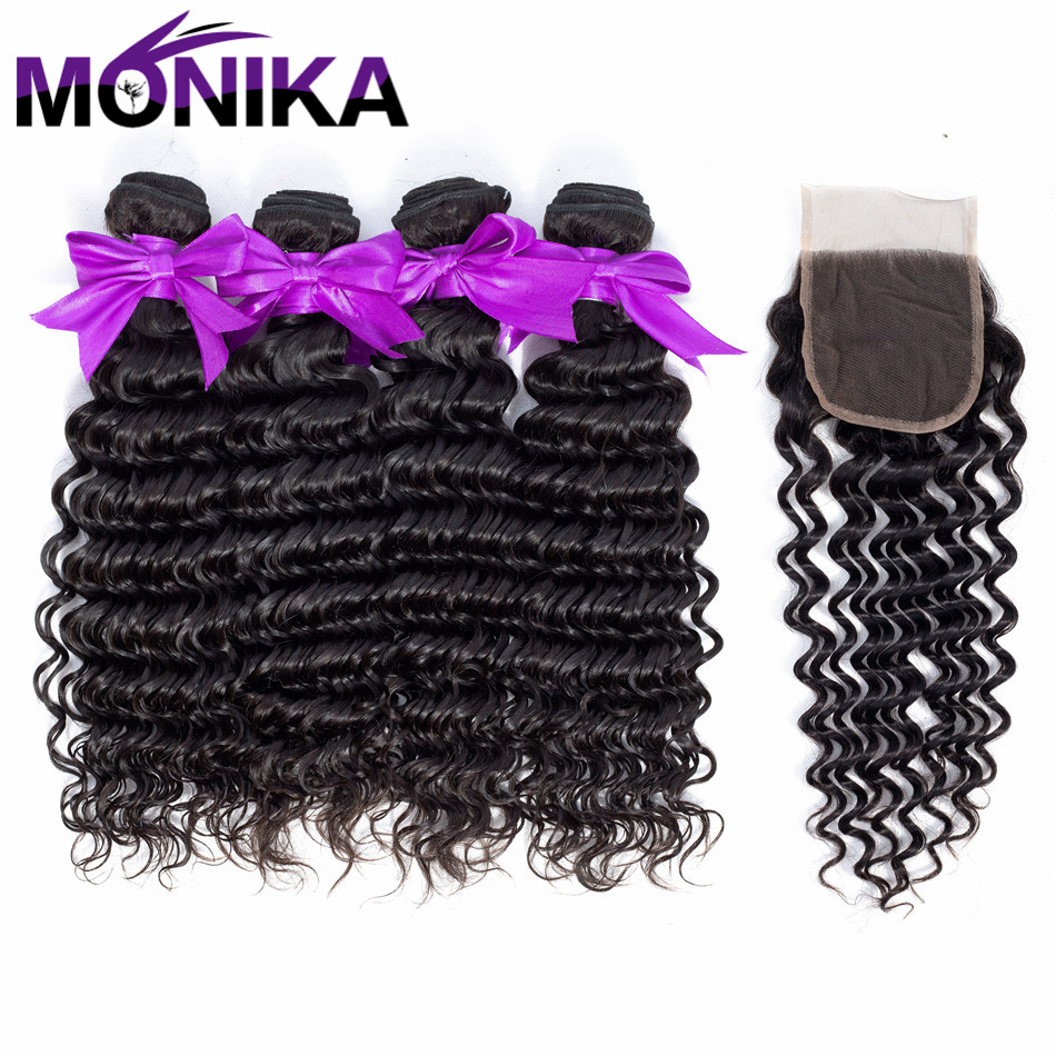 Monika Hair Products Deep Wave Bundle With Closure 4*4 Lace Human Hair Extension Natural ...